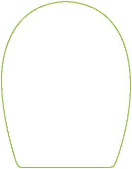 "2.625 x 3.375"" Rounded Top, Curved Sides, Straight Bottom food label."